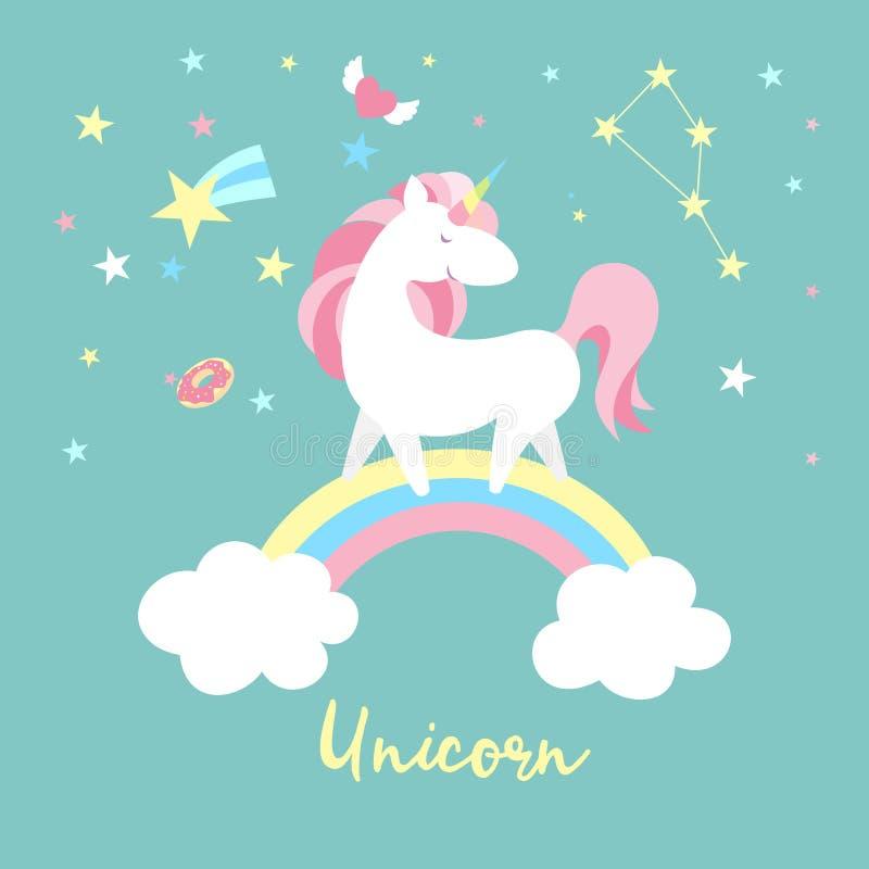 Набор символов единорога Милое волшебное собрание с единорогом, радугой, сердцем, fairy крылами и воздушным шаром Вектор стиля Ca иллюстрация штока