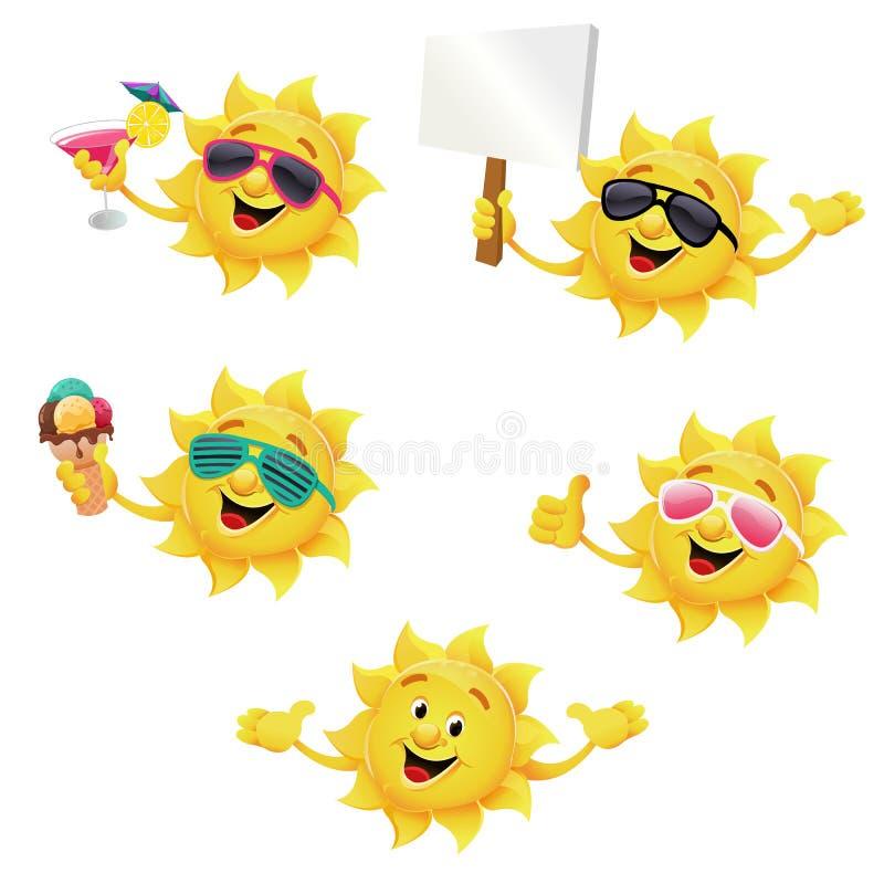 Набор символов Солнця иллюстрация вектора