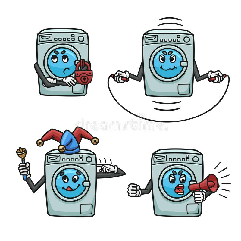 Набор сломленных стиральных машин в форме мультфильма иллюстрация вектора