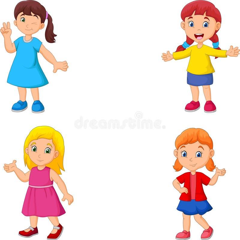 Набор собрания руки мультфильма девушки развевая бесплатная иллюстрация
