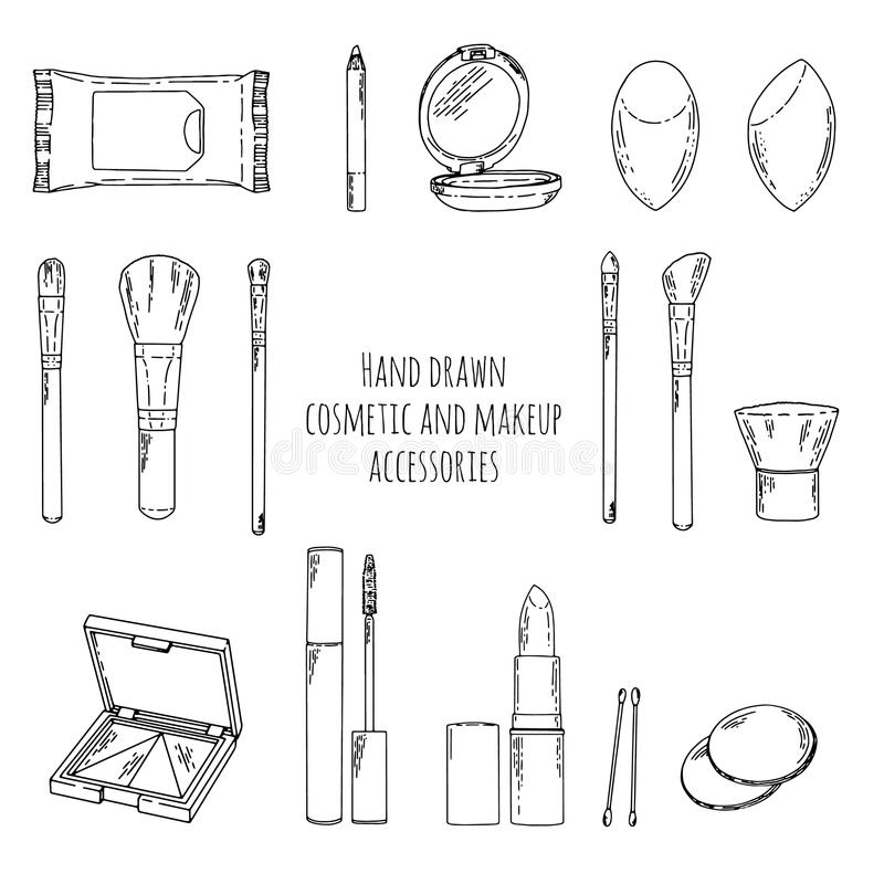 Набор состава в стиле doodle Нарисованный рукой состав косметик и аксессуары состава Линейный состав косметик стиля состав иллюстрация вектора
