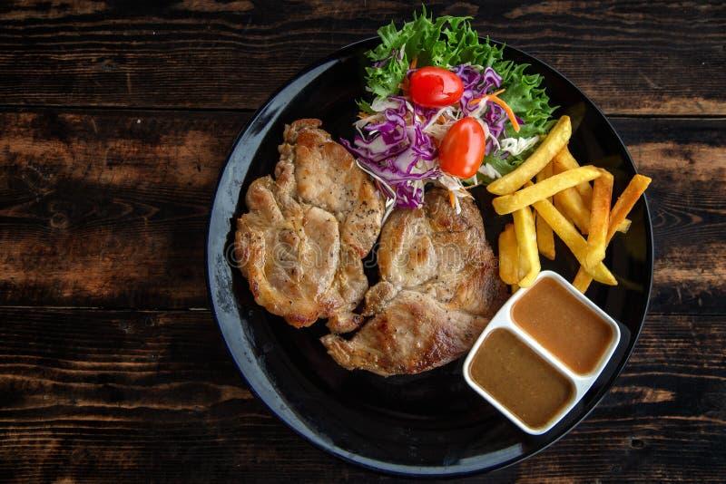 Набор стейка свинины стоковые фото
