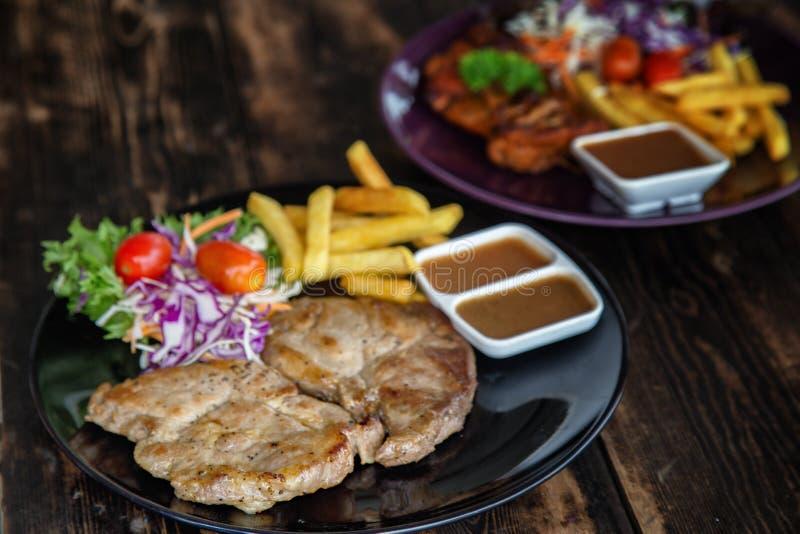 Набор стейка свинины стоковое изображение rf