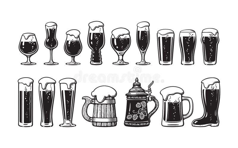 Набор стеклоизделия пива Различные типы стекел и кружек пива Иллюстрация вектора руки вычерченная на белой предпосылке иллюстрация штока