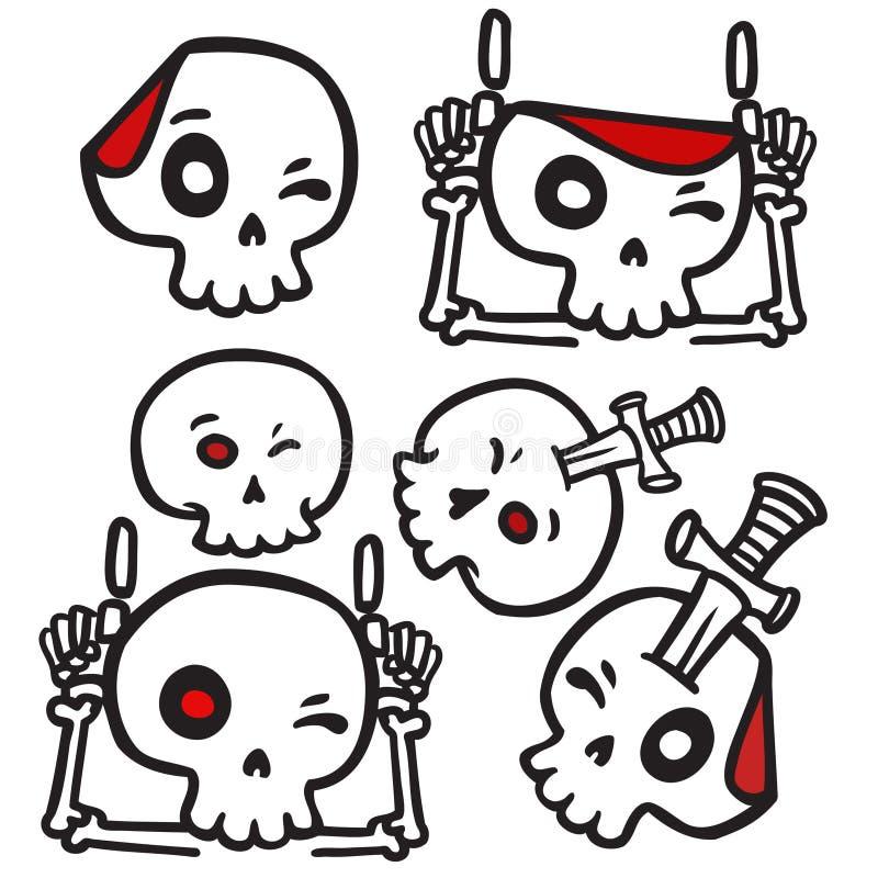 Набор стикера логотипа черепа мультфильма иллюстрация вектора