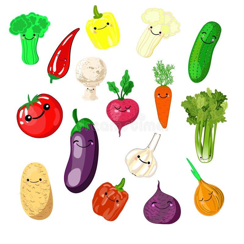 Набор стикеров или заплат kawaii с - овощи - томатами, огурцами, редисками, луками, сайдой, баклажанами, брокколи, бесплатная иллюстрация