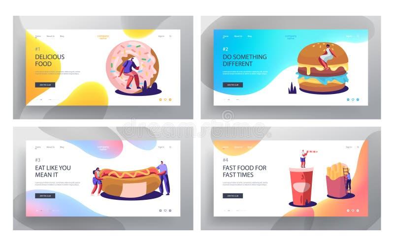 Набор страницы посадки вебсайта фаст-фуда Огромный бургер, хот-дог с мустардом, французским картофелем фри, донутом, напитком сод иллюстрация штока