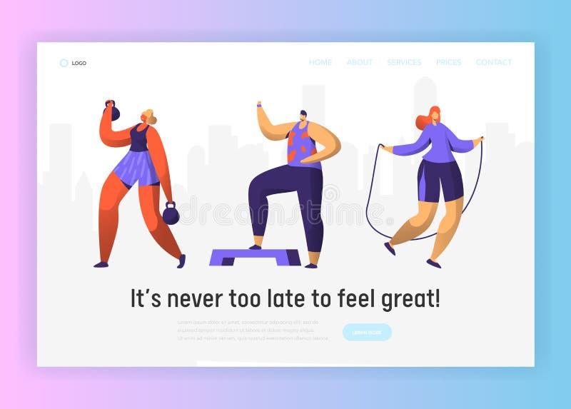 Набор страницы посадки характера фитнеса спортзала Диаграмма собрание человека и женщины разминки спорта Cardio Здоровый аэробный иллюстрация вектора