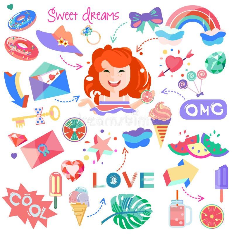 Набор с изображением девушки и чертежей для стикеров бесплатная иллюстрация