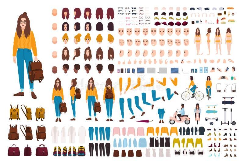 Набор творения девушки битника Комплект плоских женских частей тела персонажа из мультфильма, лицевых жестов, стилей причёсок, ул иллюстрация вектора