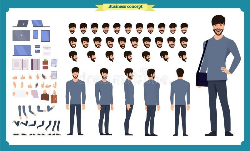 Набор творения хипстера Установите плоских мужских частей тела персонажа из мультфильма, изолированный на белой предпосылке r стоковая фотография