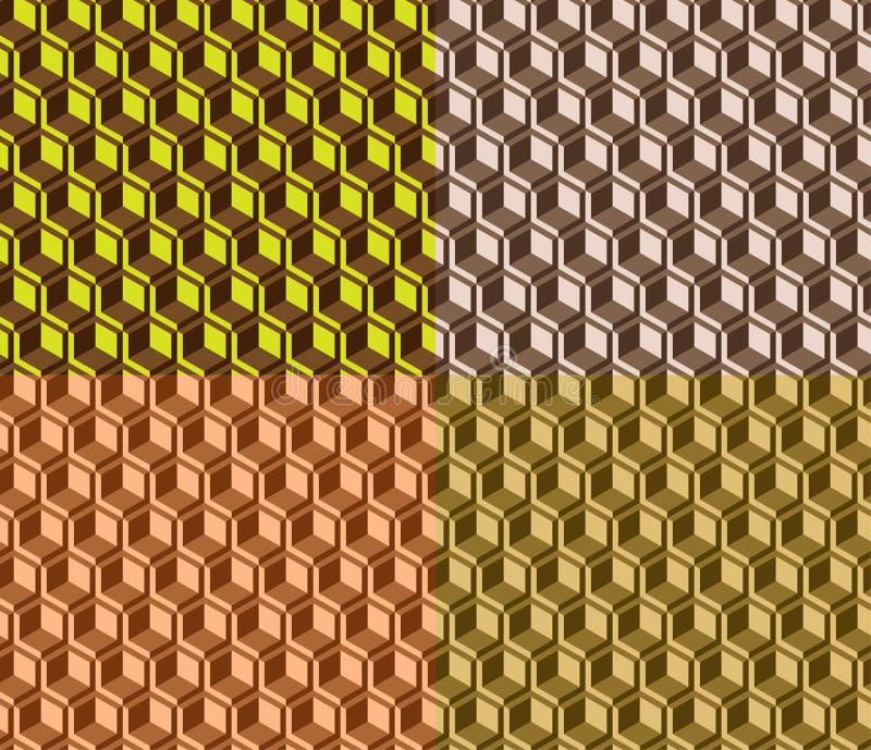 Набор текстуры модел-набора вектора геометрический безшовный простой современный 4 цветов иллюстрация штока