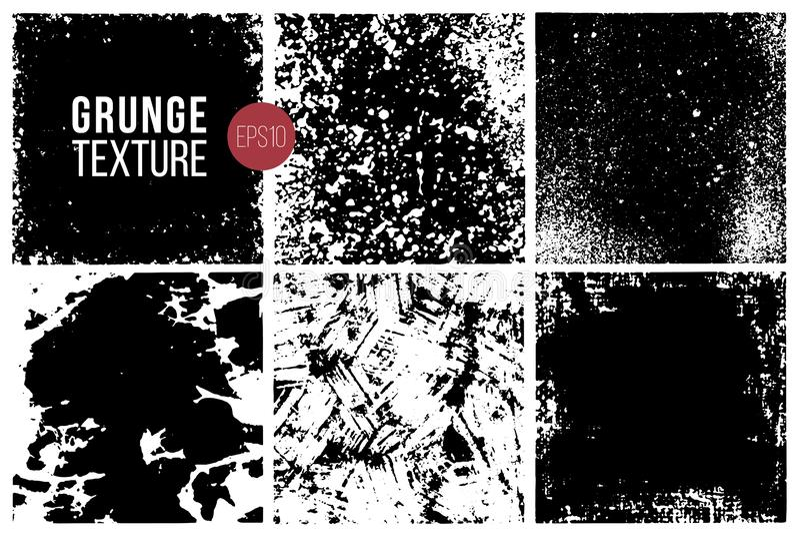 Набор текстур Grunge backhander Monochrome абстрактные поверхности заряда для дизайна иллюстрация штока