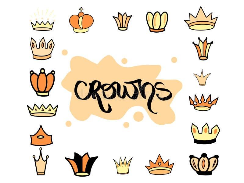 Набор тиары вычерченной кроны руки желтый оранжевый различный для принцессы Милая изолированная иллюстрация вектора diadem для зн бесплатная иллюстрация