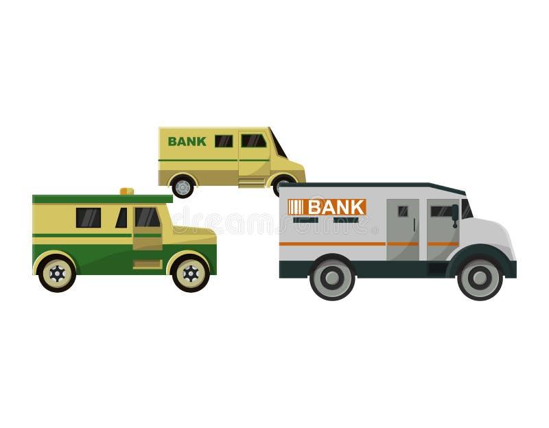 Набор транспорта панцыря иллюстрации автомобиля перехода фургона наличных денег банка вектора бронированного транспортного средст бесплатная иллюстрация