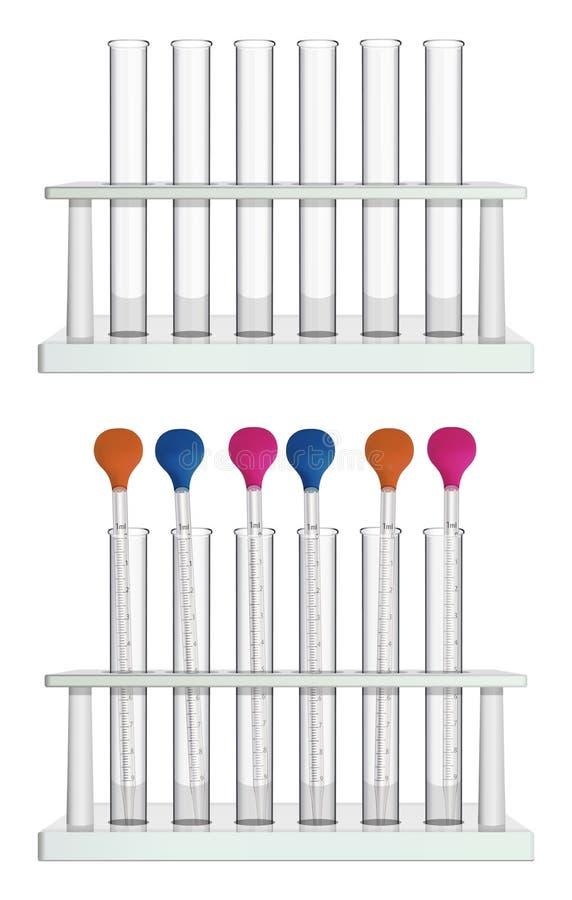 Набор трубок в шкафах Пустые пробирки и пробирки с измеряя пипетками лаборатории Особенная лаборатория иллюстрация вектора