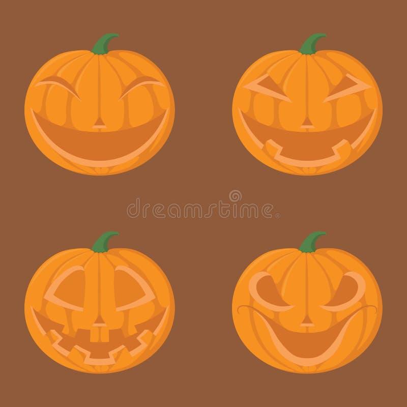 Набор тыквы на хеллоуине с эмоцией бесплатная иллюстрация