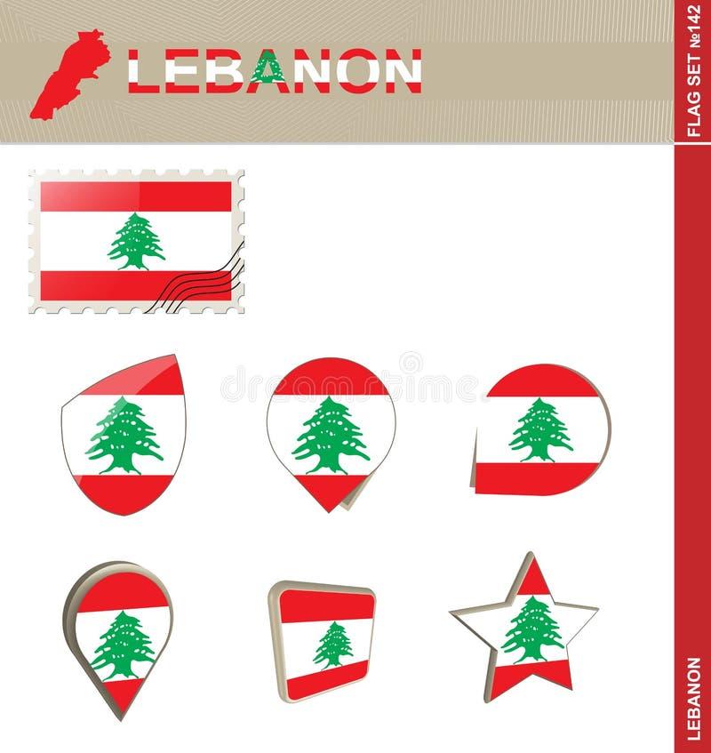 Набор флага Ливана, набор #142 флага иллюстрация вектора