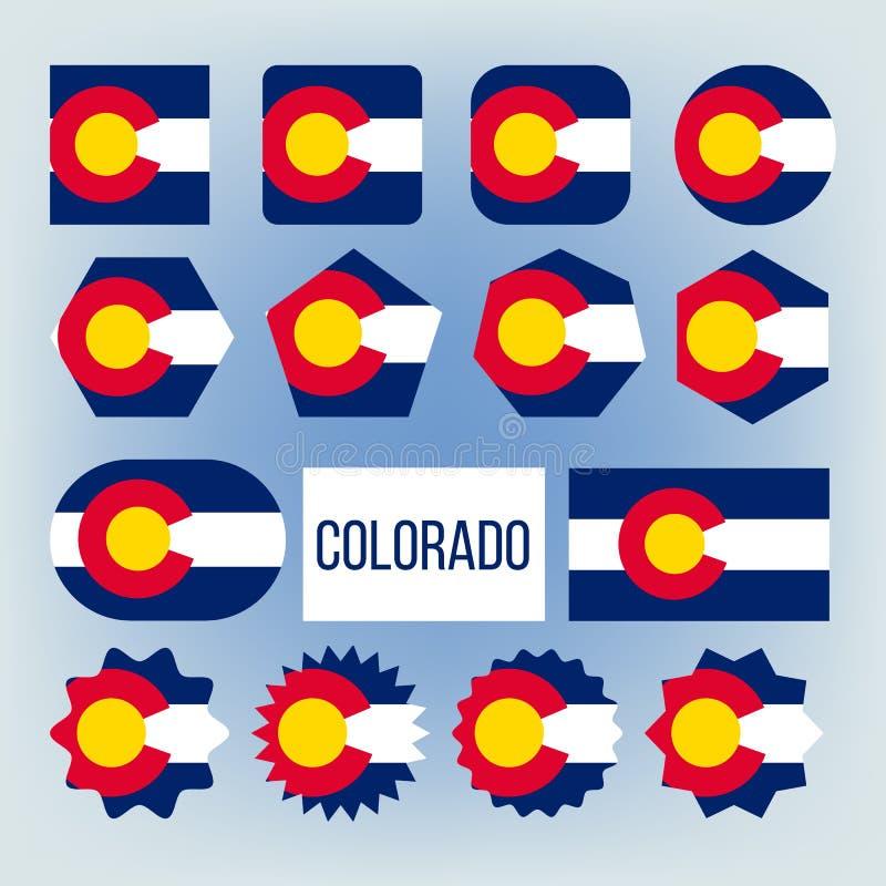 Набор флагов вектора форм государства Колорадо различный иллюстрация вектора