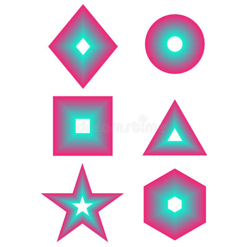 Набор формы основного простого градиента геометрический - квадрат, круг, треугольник, звезда, шестиугольник, собрание логотипов к иллюстрация штока