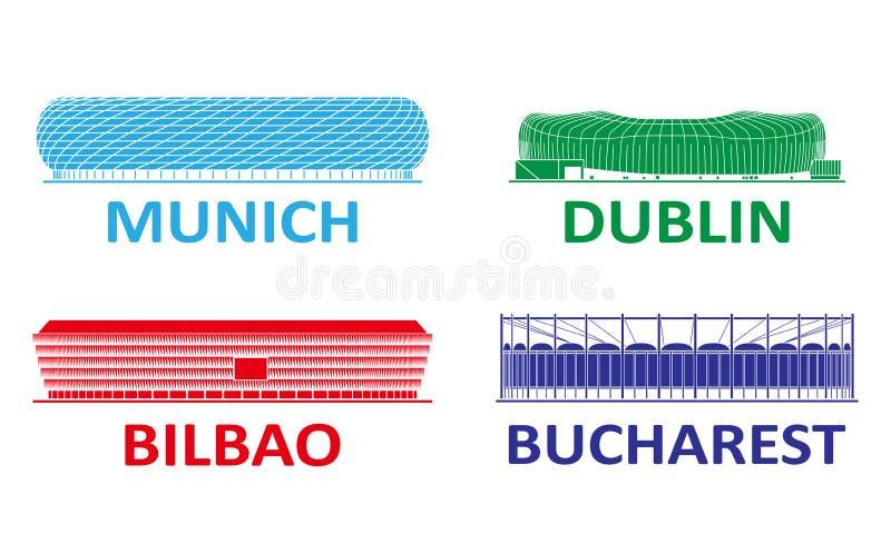 Набор футбольного стадиона стоковое изображение rf