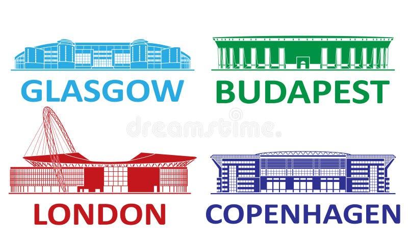 Набор футбольного стадиона 2020 стоковое фото