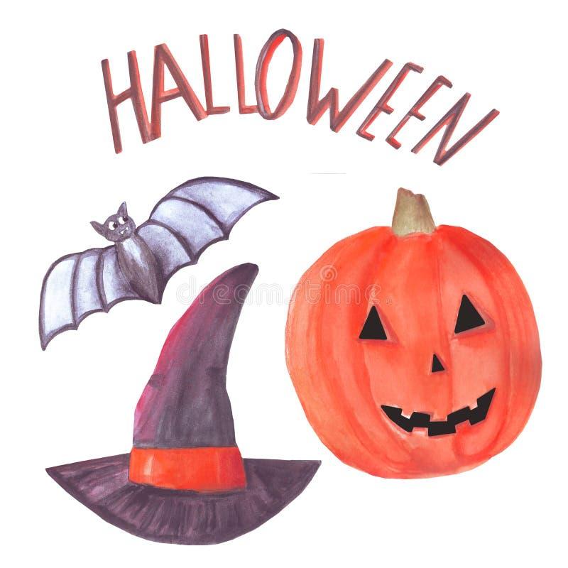 Набор хеллоуина акварели включает летучую мышь, шляпу ведьмы, тыкву, надпись изолированную на белой предпосылке Элементы иллюстрация вектора