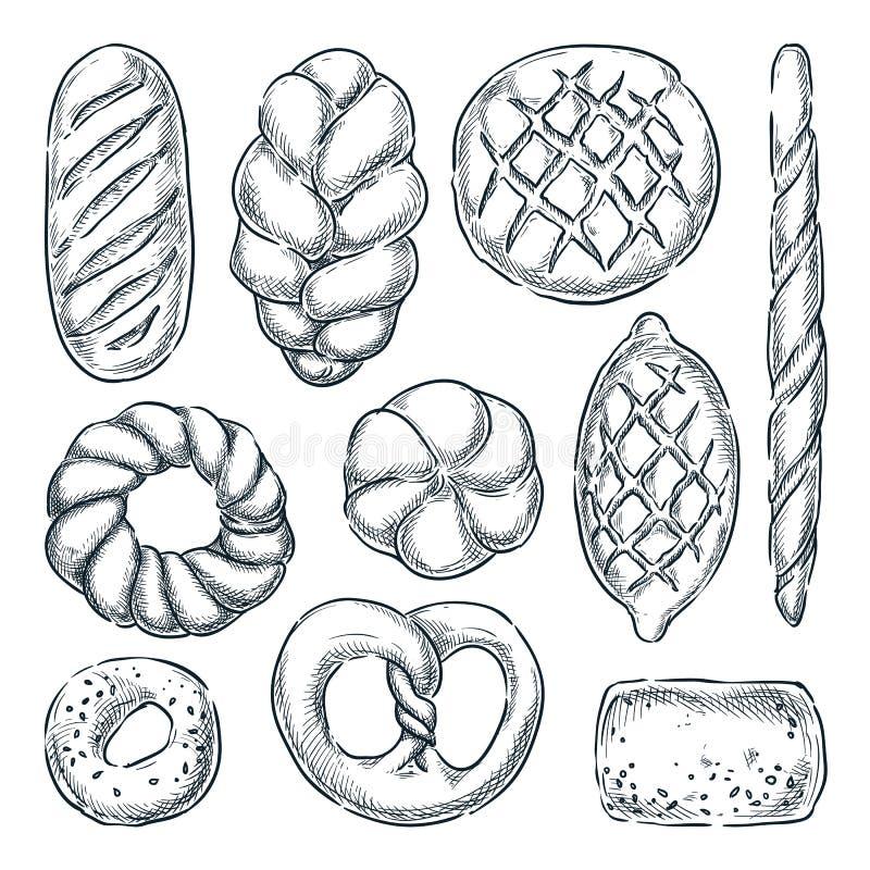 Набор хлеба, изолированный на белой предпосылке r Плюшки Rye и пшеницы, хлебец, бейгл и багет бесплатная иллюстрация
