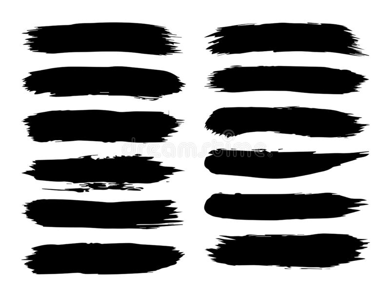 Набор хода щетки художественной grungy черной краски ручной работы творческий иллюстрация вектора