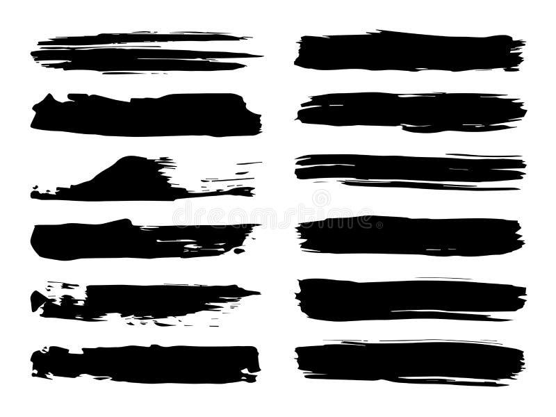 Набор хода щетки Grungy черной краски ручной работы творческий иллюстрация вектора