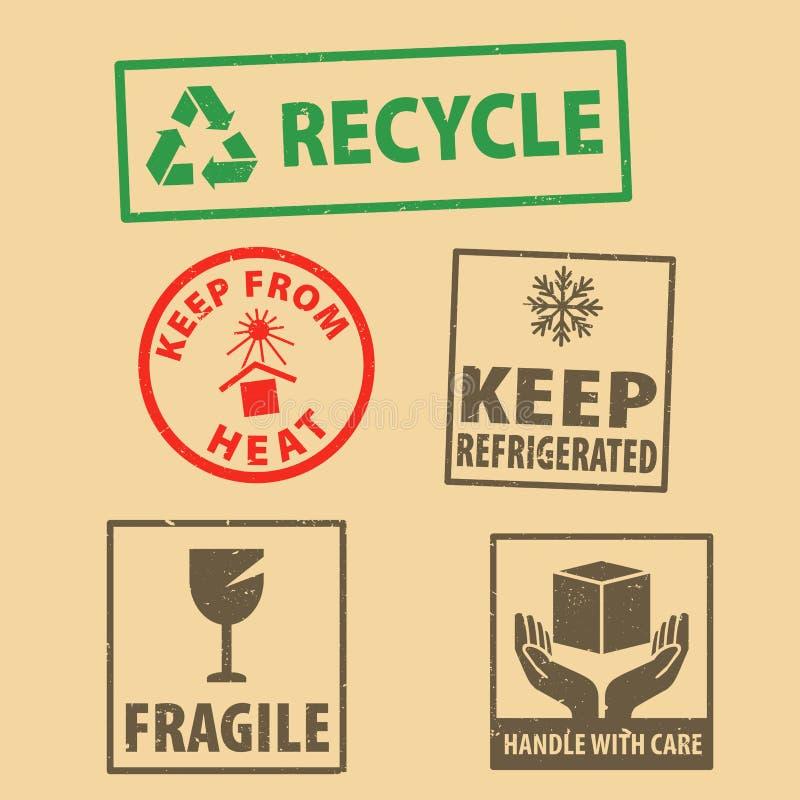Набор хрупкого стикера держать знак refrigerated и случай значка упаковывая символов, держит от избитой фразы жары на предпосылке иллюстрация вектора