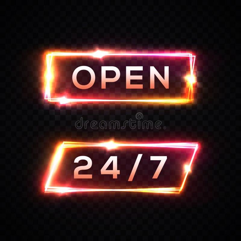 Набор цвета времени 7 шильдика 24 неонового света открытый бесплатная иллюстрация