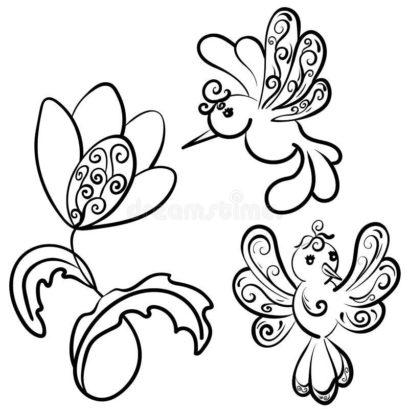 Набор цветка и 2 красивых птиц фантазии с curlicues иллюстрация вектора