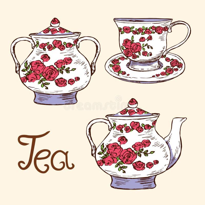 Набор чая: шар сахара, чашка и поддонник, чайник с красными розами и листья орнаментируют, вручают вычерченный doodle, простой эс иллюстрация штока