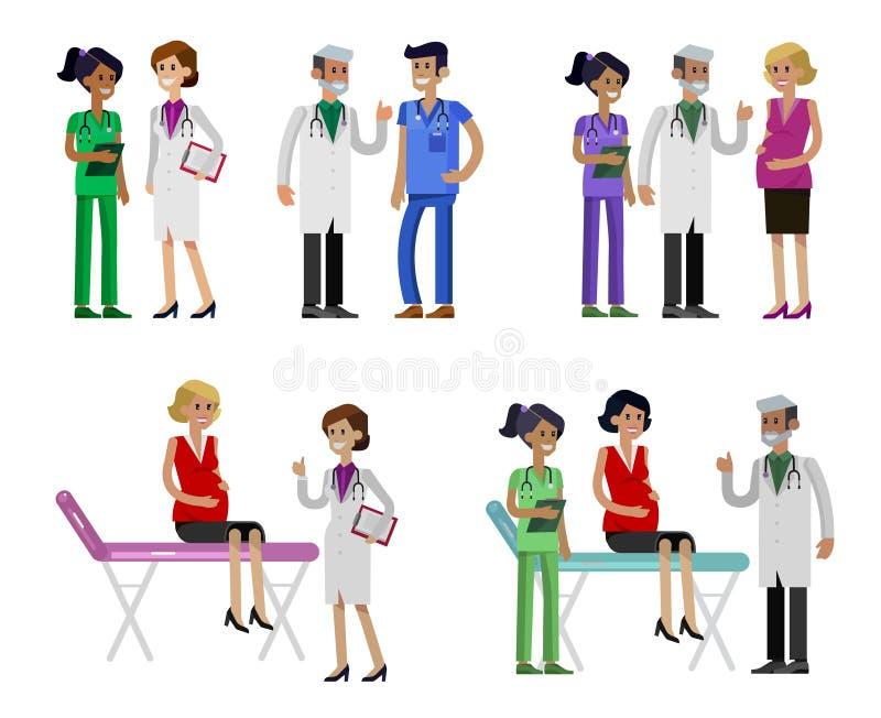 Набор человека и женщины характера доктора детализировал иллюстрация штока