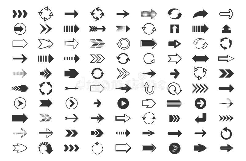 Набор черных стрелок большой Указатели направления, вверх по вниз с левым знакам форм и ходов точек, линейный пиксел курсора знач иллюстрация вектора