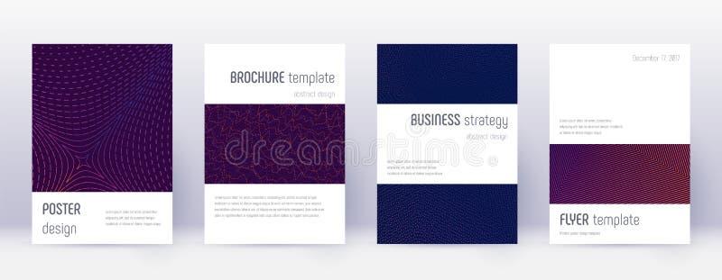 Набор шаблона дизайна брошюры Minimalistic лилово иллюстрация штока