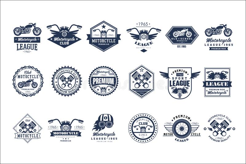 Набор шаблона логотипа клуба мотоцикла, эмблемы стиля лиги спорта ретро винтажные и иллюстрации вектора значков на белизне иллюстрация вектора