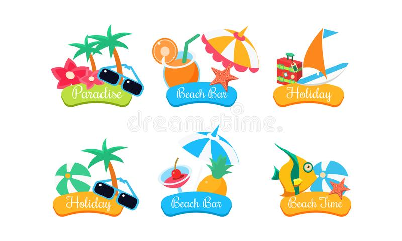 Набор шаблона логотипа перемещения лета, рай, бар пляжа, праздник, иллюстрация вектора ярлыков времени пляжа яркая изолированная  иллюстрация штока