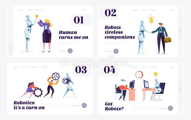 Набор шаблонов страницы посадки вебсайта человека и робота Концепция взаимодействия с искусственным интеллектом Робототехника в ж бесплатная иллюстрация