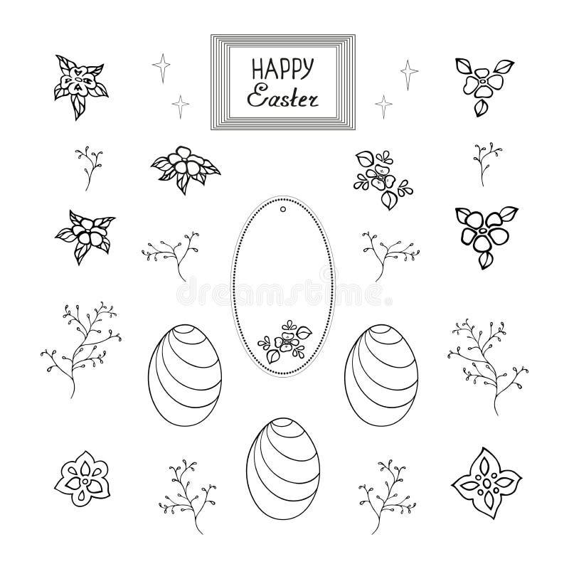Набор шаблонов цветов потехи и праздничного яйца для того чтобы украсить поздравительную открытку в честь воскресения бесплатная иллюстрация