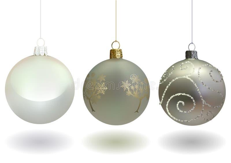 Набор шарика белого рождества иллюстрация вектора