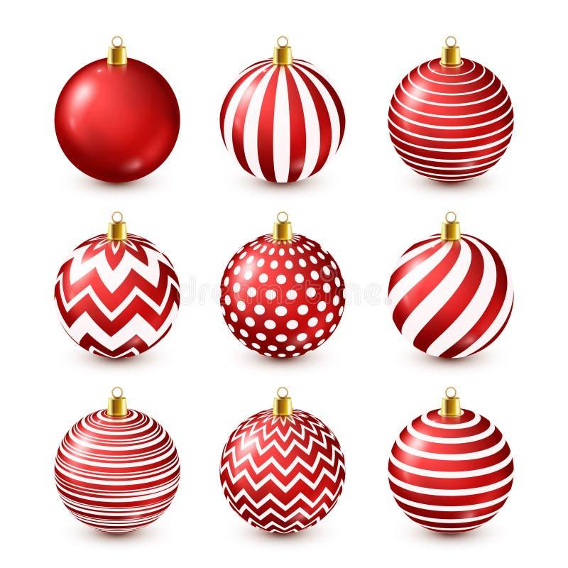 Набор шариков рождественской елки сияющий красный Новый Год украшения ландшафта часы зимы сезона Праздники в декабре Приветствова иллюстрация штока