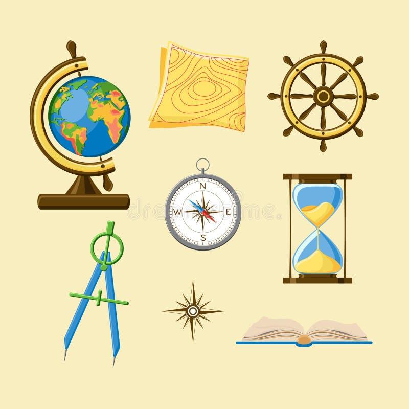 Набор школы землеведения со значками глобуса земли, карты топографии, колеса корабля, компаса, часов, windrose и книги бесплатная иллюстрация