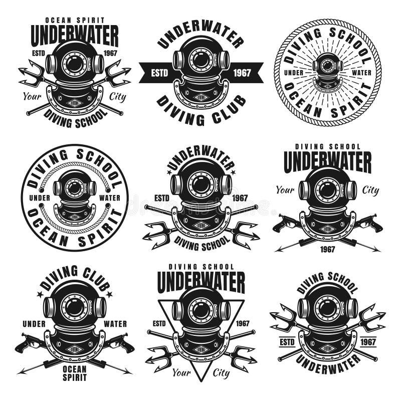 Набор школы подводного плавания 9 эмблем черноты вектора бесплатная иллюстрация