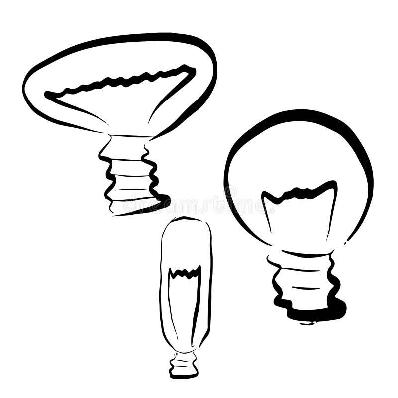 Набор электрических лампочек иллюстрация вектора