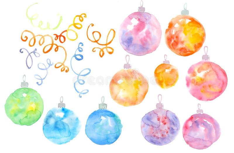Набор элемента безделушек рождества акварели бесплатная иллюстрация