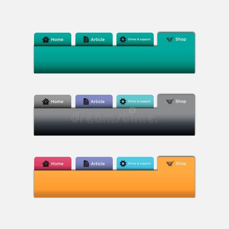 Набор элементов веб-дизайна белый IllustrationSet вектора плат навигации вебсайта aqua вектора бесплатная иллюстрация