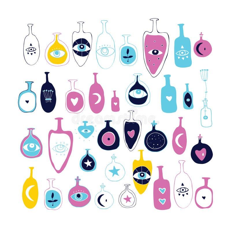 Набор элементов дизайна вектора руки набора бутылки опарника вычерченных волшебного эзотерического мистического с глазом трети се иллюстрация штока