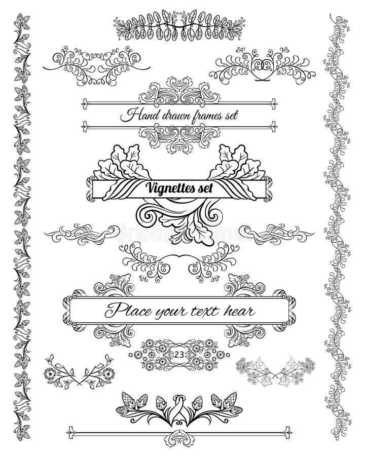 Набор элементов дизайна эскиза флористический декоративный иллюстрация вектора